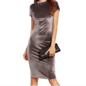 Zara Trafaluc Mock Neck Velvet Midi Dress NWOT